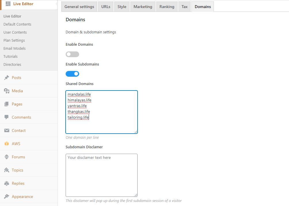 Domain & subdomain settings