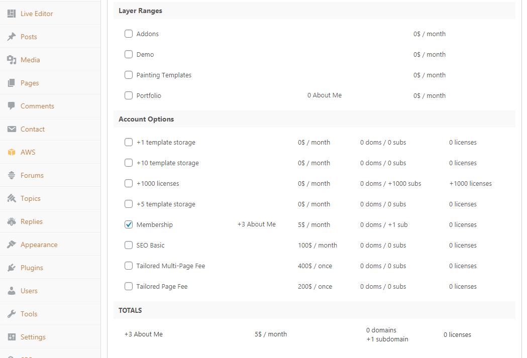 Domains in plan settings